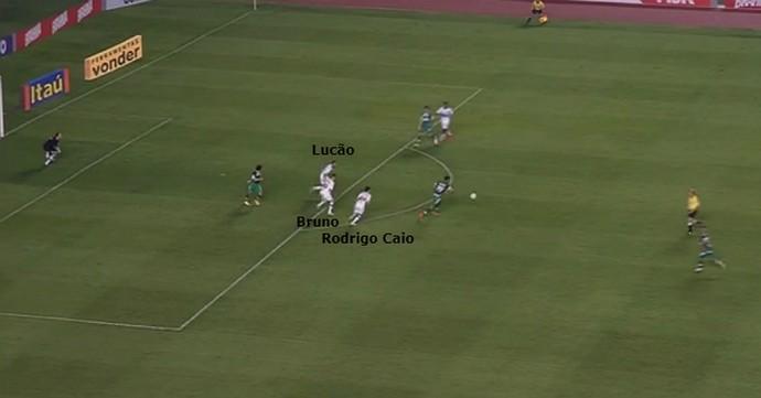 Lucão, Bruno e Rodrigo se preocupam com Túlio e deixam Gil aparecer com liberdade dentro da área (Foto: GloboEsporte.com)