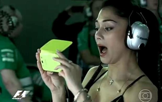 FRAME - Nicole Scherzinger GP da malásia (Foto: TV GLOBO)