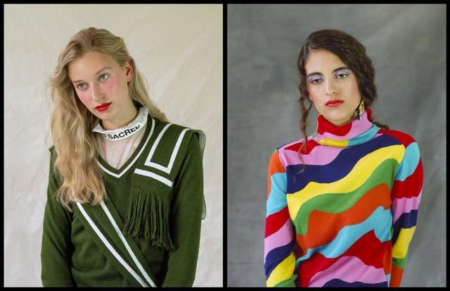 Esquerda: top, Proeme de Paris; suéter, Victoria / Tomas. Direita: suéter, Mira Mykata; brincos, Yazbukey. (Foto: Sophie Arancio)