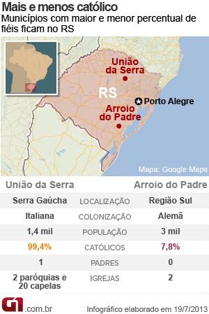 MAPA_municipios_catolicos (Foto: Editoria de Arte / G1)