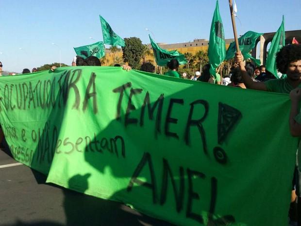 Manifestantes carregam faixa com frase fora, Temer em ato na Esplanada dos Ministérios, em Brasília (Foto: Ingrid Borges/G1)