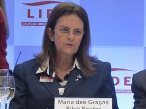 A presidente da Petrobras, Graça Foster, participa nesta segunda-feira (26) de debate em São Paulo (Foto: Gabriela Gasparin/G1)