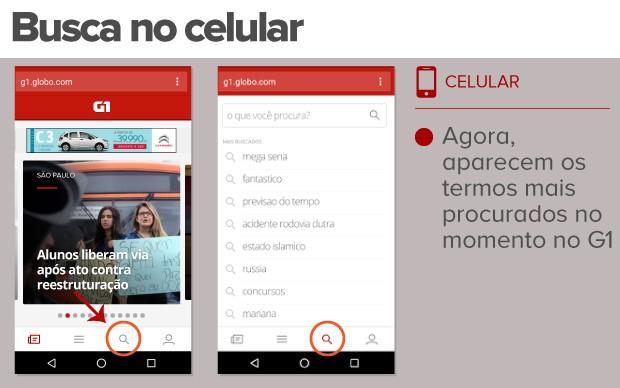 Na versão para o celular, o G1 tem novidade na busca (Foto: G1)