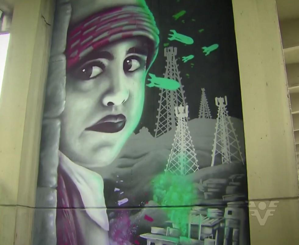 Grafitti do Projeto Pilares de Santos (Foto: Reprodução/TV Tribuna)