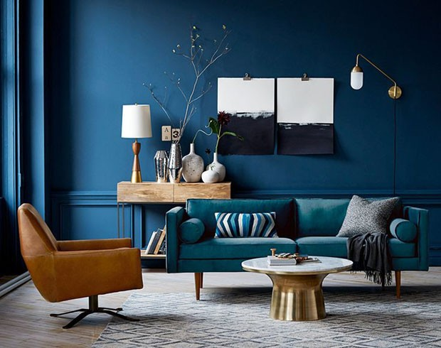 d cor do dia tons de azul invadem a sala casa vogue d cor do dia. Black Bedroom Furniture Sets. Home Design Ideas