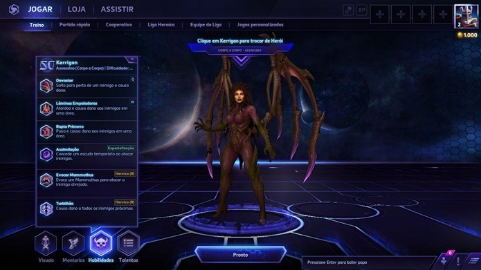 No menu principal, você pode checar as habilidades de todos os heróis (Foto: Reprodução / Dario Coutinho)