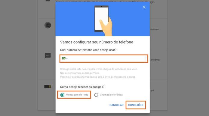 Adicione o número extra para acessar sua conta do Google e e-mail Gmail (Foto: Reprodução/Barbara Mannara)