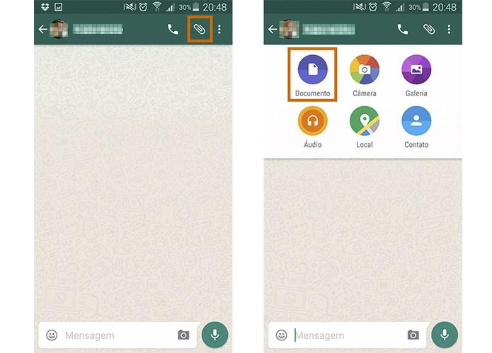 WhatsApp permite enviar documentos para contatos (Foto: Reprodução/Barbara Mannara)