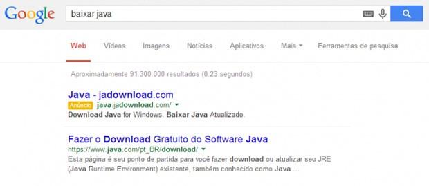 Resultado patrocinado de site falso aparecia em buscas do Google (Foto: Reprodução/Kaspersky)