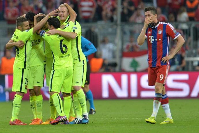 Comemoração Barcelona Bayern (Foto: AP)