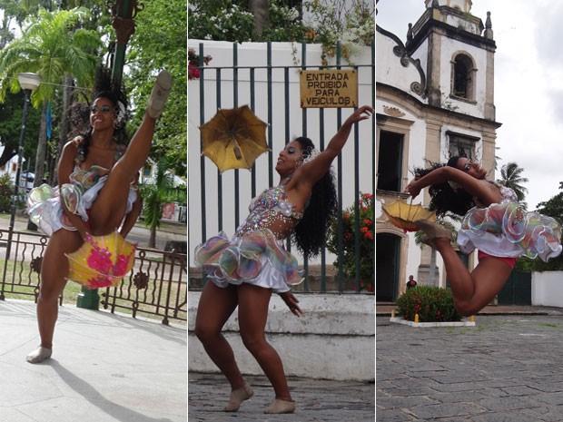 Montagem com a rainha do carnaval do Recife mostra os diversos usos da sombrinha de frevo. (Foto: Luna Markman/ G1)