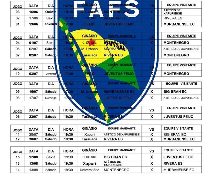Tabela do Campeonato Acreano de Futsal da 1ª divisão 2016 (Foto: Divulgação/Fafs)