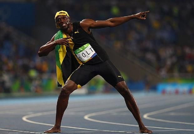 O atleta jamaicano Usain Bolt, após vencer a prova dos 100 metros nos Jogos Olímpicos do Rio (Foto: Ian Walton/Getty Images)