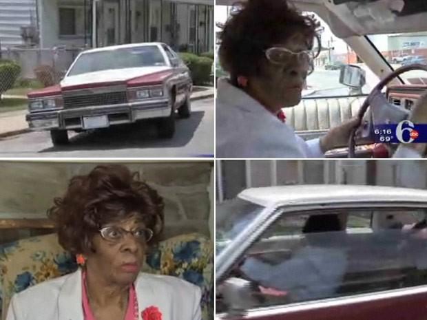 Gladys Flamer demonstra sua habilidade no volante (Foto: Reprodução/ABC6)