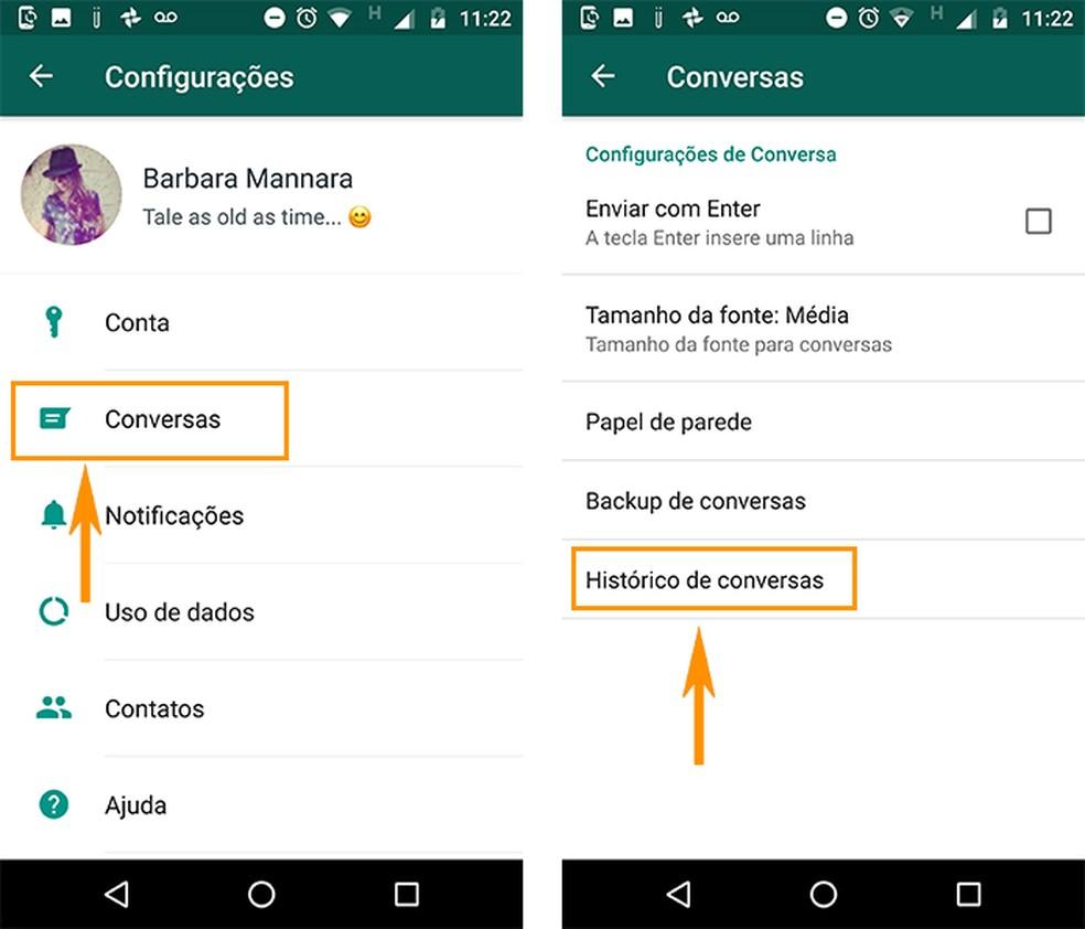 Abra o histórico de conversas do WhatsApp no Android (Foto: Reprodução/Barbara Mannara)