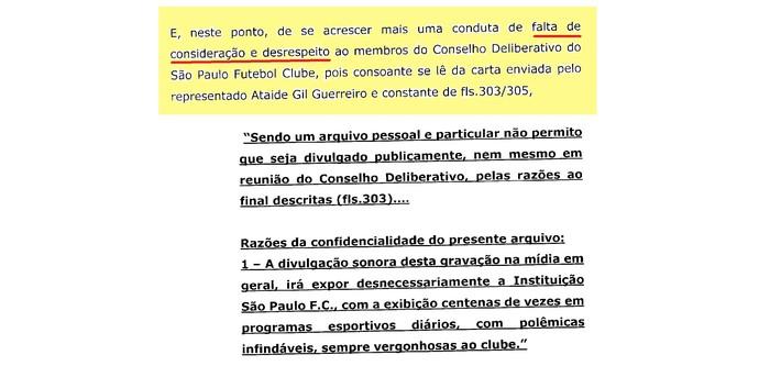 (editado) Parecer Comitê Ética São Paulo Página 9 (Foto: Arte: GloboEsporte.com)