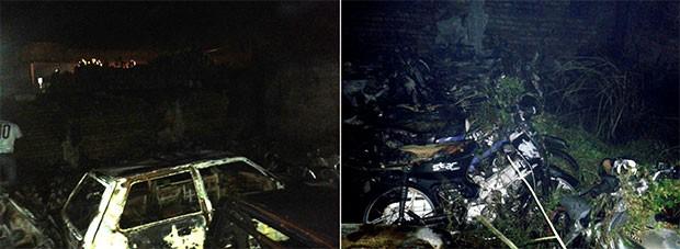 Segundo o Corpo de Bombeiros, 83 motocicletas e seis carros foram destruídos pelas chamas (Foto: Divulgação/Corpo de Bombeiros do RN)