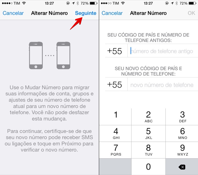 Alterando o número do WhatsApp para iOS