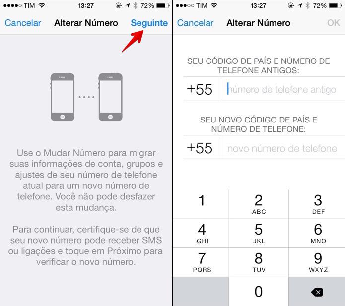 Alterando o número do WhatsApp para iOS (Foto: Reprodução/Helito Bijora)  (Foto: Alterando o número do WhatsApp para iOS (Foto: Reprodução/Helito Bijora) )