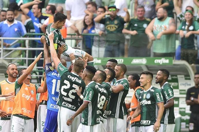 Palmeiras x São Paulo comemoração gol (Foto: Marcos Rilbolli)