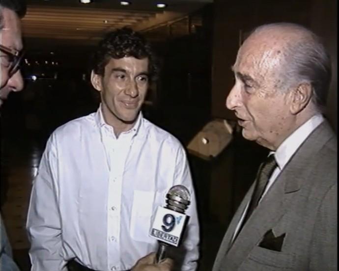 Ayrton Senna e Juan Manuel Fangio (Foto: Reprodução TV Globo)