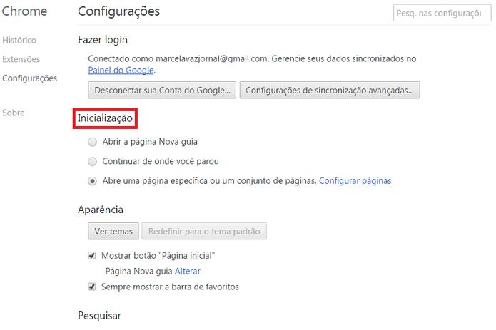 Configuração da página inicial no Google Chrome (Foto: Reprodução/Marcela Vaz)