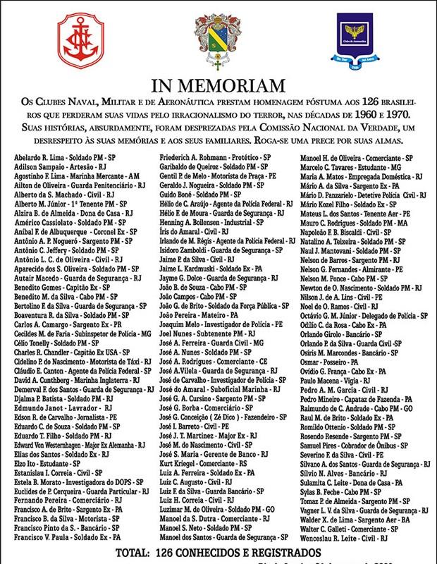 A lista dos mortos homenageados pelo Clube Militar (Foto: Divulgação/Clube Militar)
