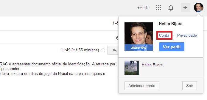 Acessando configurações da conta Google (Foto: Reprodução/Helito Bijora)
