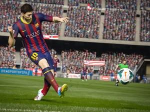 Messi dá chute ao gol em 'Fifa 15' (Foto: Divulgação/Electronic Arts)