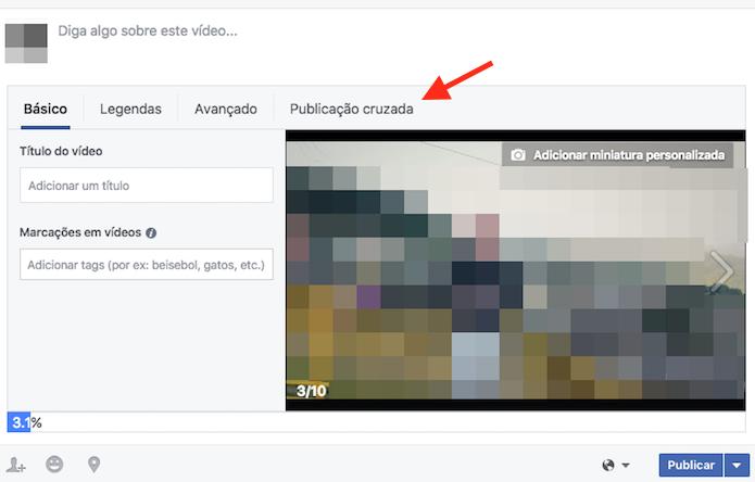 Acesso para as configurações de publicações cruzadas em uma página do Facebook (Foto: Reprodução/Marvin Costa)