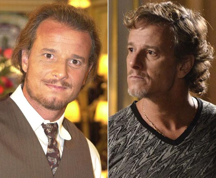 À esquerda, Marcello como Timóteo, em Chocolate com Pimenta (2003); à direita, como Max, em Avenida Brasil (2012) (Foto: Cedoc / Tv Globo)