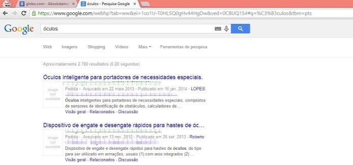 Várias patentes aparecem como resultado no Google (Foto: Reprodução/Taysa Coelho)