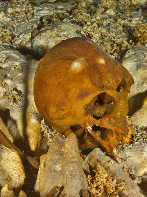 Crânio no fundo da fossa Hoyo Negro  (Foto: Roberto Chavez Arce/Divulgação)