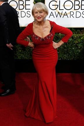 Helen Mirren no Globo de Ouro em Los Angeles, nos Estados Unidos (Foto: Mario Anzuoni/ Reuters)