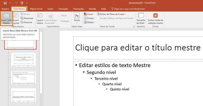 Se preferir adicione um segundo slide mestre na mesma apresentação (Foto: Reprodução/Barbara Mannara)