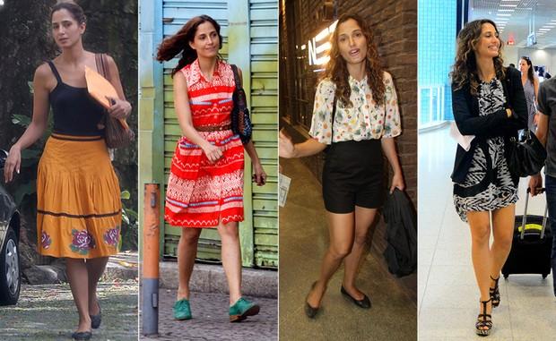 Atriz usando diversos looks com modelos diferentes de bolsas femininas.