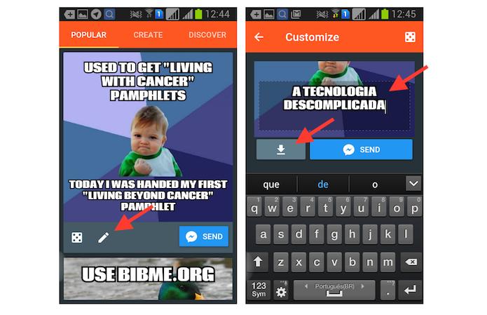 Editando um meme com a extensão Meme Blast no Facebook Messenger para Android (Foto: Reprodução/Marvin Costa)