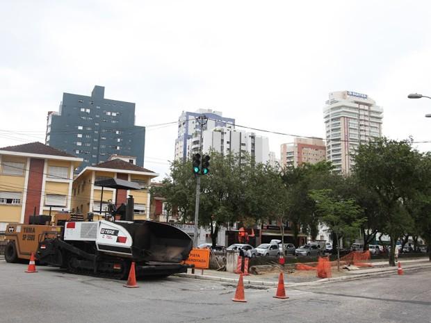 Obras da Avenida Siqueira Campos começaram na terça-feira (Foto: Isabela Carrari / Prefeitura de Santos)