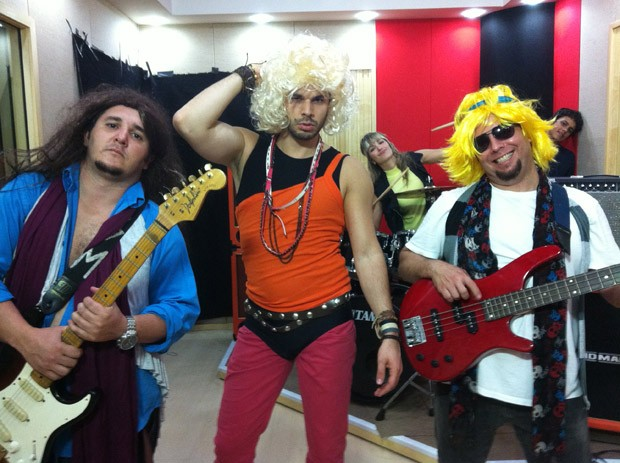 Da esquerda para direita: Chimbinha, Jonas Almeida, Kelly Maria e Erick Miranda (Foto: Jonas Almeida/ TV Vanguarda)
