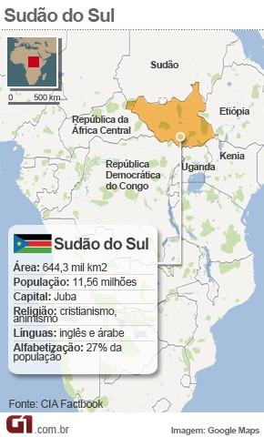 Mapa Sudão do Sul  (Foto: G1)