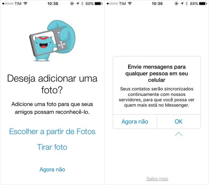Defina uma foto de perfil e sincronize o app com os contatos (Foto: Reprodução/Helito Bijora)