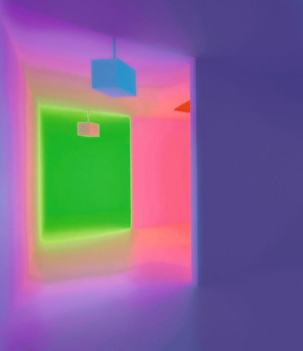 Interação. Em museu na Austrália, obra Chromosaturation, de James Turrell, demonstrava relação de impermanência com a cor de acordo com o espaço e a percepção individual (Foto: Divulgação)
