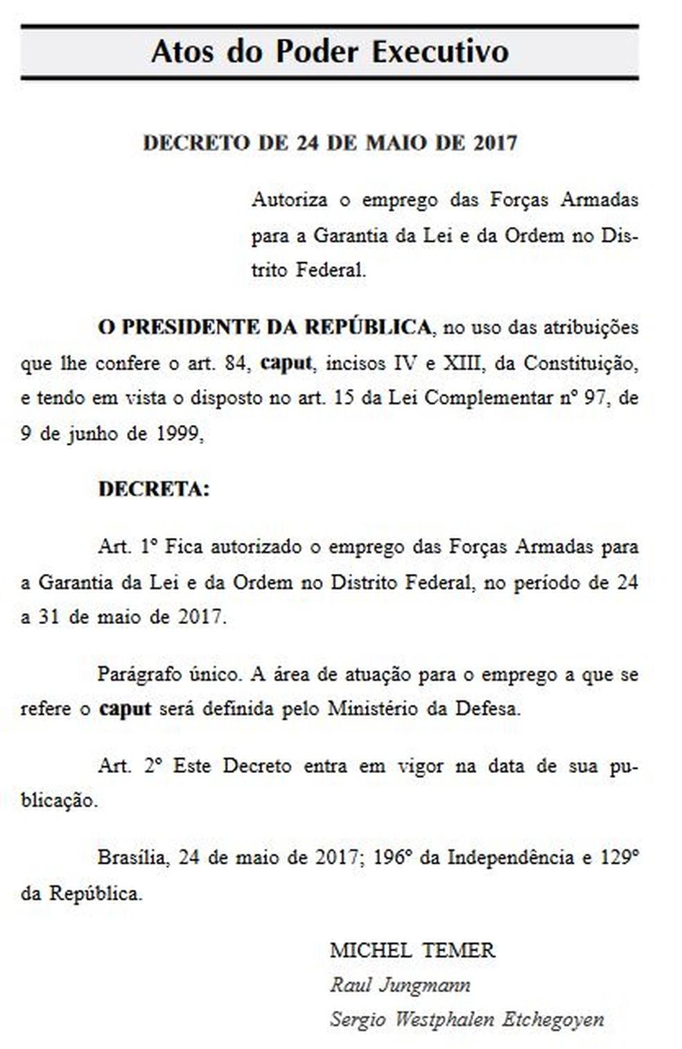 Decreto de Temer sobre a garantia de lei e ordem no DF (Foto: Reprodução/Diário Oficial da União)