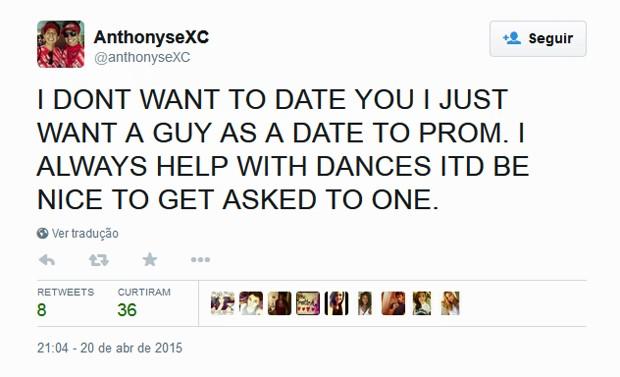 No twitter, Anthony disse não querer um namorado e sim uma companhia para o baile (Foto: Reprodução)