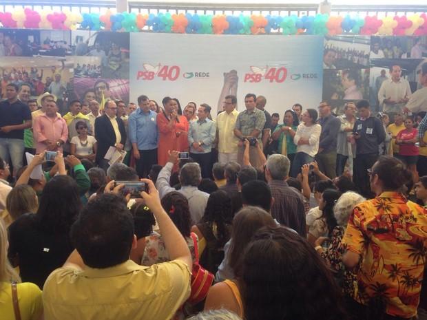 Convenção do PSB Fortaleza contou com a presença de Marina Silva, da Rede Sustentabilidade (Foto: Leal Mota Filho/TV Verdes Mares)