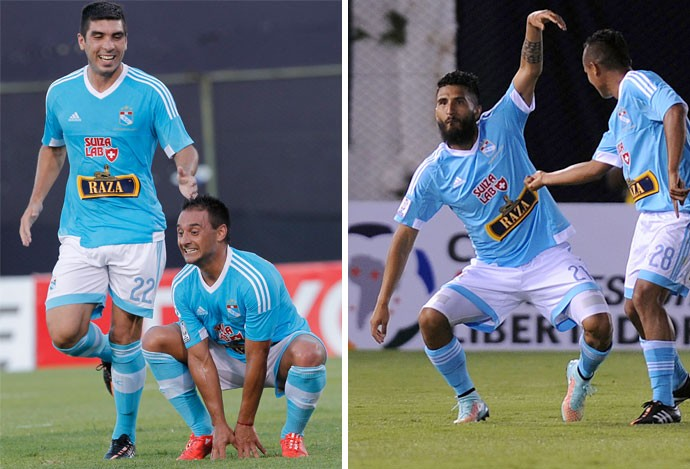 montagem gols Sporting Cristal (Foto: Montagem sobre foto da AP e AFP)