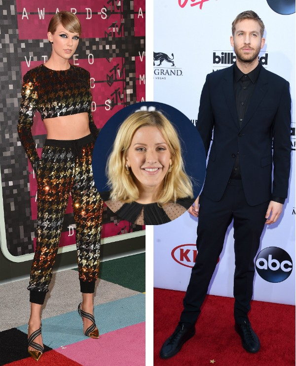 Taylor Swift, Ellie Goulding e Calvin Harris (Foto: Getty Images)