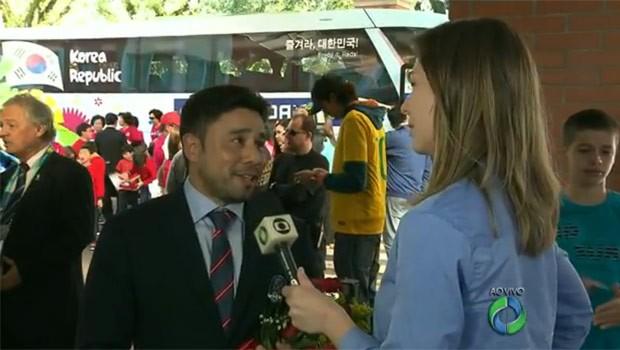 Paraná TV 1ª Edição encontrou um brasileiro na delegação da Coreia (Foto: Reprodução)