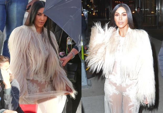 Look de Kim Kardashian em set de filmagem (esq) já havia sido usado por ela em janeiro, em Paris (dir) (Foto: AKM-GSI)