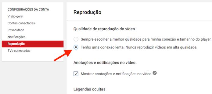 Configurando o YouTube para reproduzir vídeos com qualidade personalizada para conexões lentas (Foto: Reprodução/Marvin Costa)